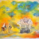 Überladener Lastwagen trifft Kamelreiter im Sahel